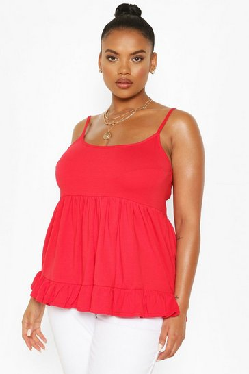 Red Plus Cotton Tiered Smock Cami