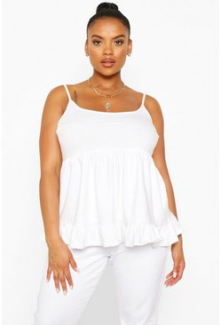 White Plus Cotton Tiered Smock Cami