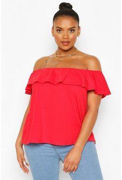 Red Plus Off The Shoulder Ruffle Top
