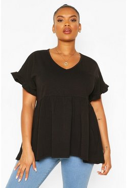 Black Plus Ruffle Sleeve V Neck Smock Top
