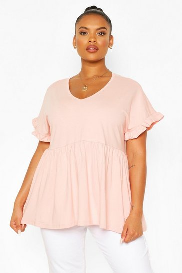 Blush pink Nude Plus Ruffle Sleeve V Neck Smock Top