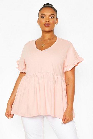 Blush pink Nude Plus Ruffle Sleeve V Neck Smock Top