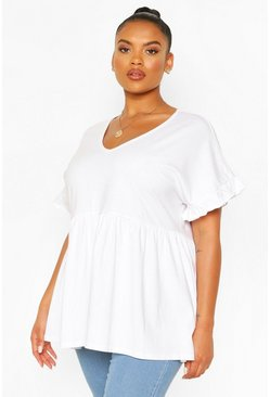 White Plus Ruffle Sleeve V Neck Smock Top