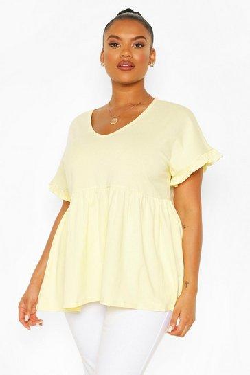 Yellow Plus Ruffle Sleeve V Neck Smock Top