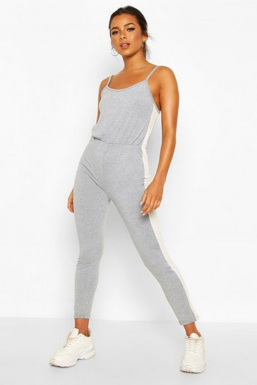 Grey Petite Side Stripe Jersey Jumpsuit