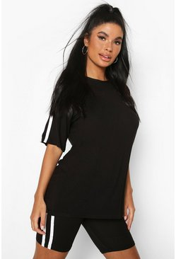 Black Petite Oversized T-Shirt and Cycling Short Set