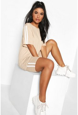 Stone beige Petite Oversized T-Shirt and Cycling Short Set