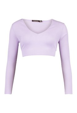 Lilac Petite Long Sleeve Tie Back Rib Top