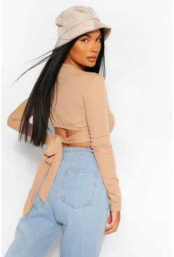 Ecru white Petite Long Sleeve Tie Back Rib Top