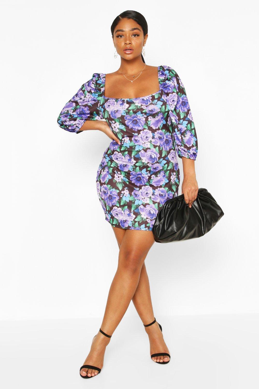 Plus Floral Puff Sleeve Mini Dress 8