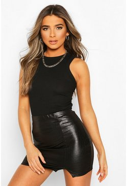 Black Petite Leather Look Croc Effect Mini Skirt