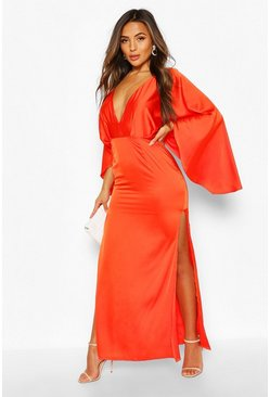 Orange Petite Satin Kimono Sleeve Maxi Dress
