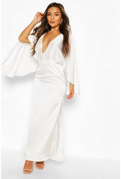 Petite Satin Kimono Sleeve Maxi Dress, White bianco