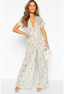 White Petite Sheer Floral Stripe Beach Jumpsuit