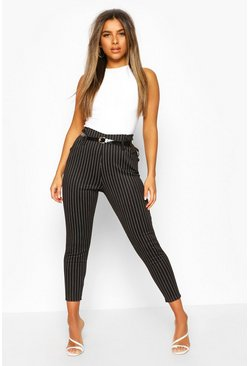 Black Petite Belted Pin Stripe Trouser