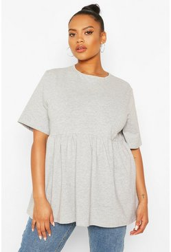 Grey marl Plus Crew Neck Cap Sleeve Smock Top