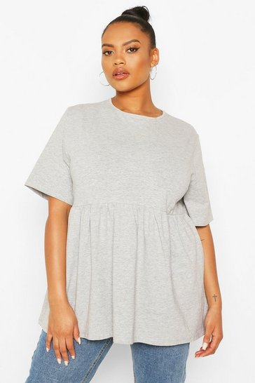 Grey marl grey Grey Plus Crew Neck Cap Sleeve Smock Top