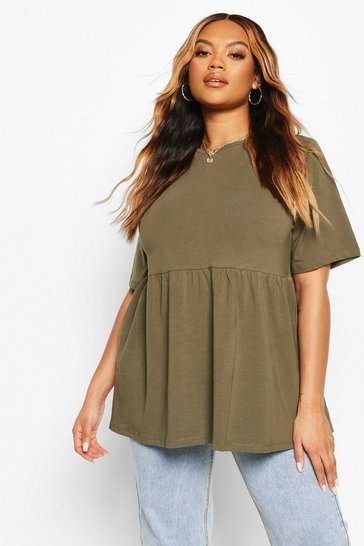 Khaki Plus Crew Neck Cap Sleeve Smock Top
