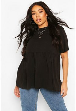 Black Plus Crew Neck Cap Sleeve Smock Top