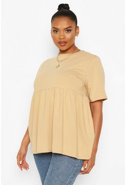 Camel beige Plus Crew Neck Cap Sleeve Smock Top