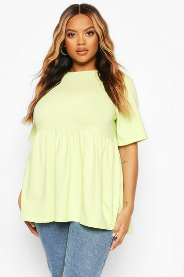 Lime green Green Plus Crew Neck Cap Sleeve Smock Top