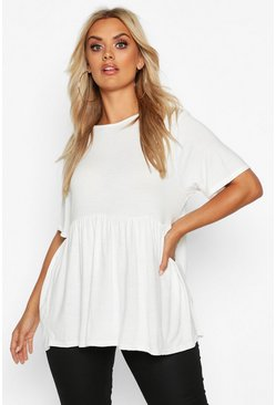White Plus Crew Neck Cap Sleeve Smock Top