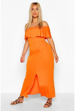 Terracotta orange Plus Off The Shoulder Ruffle Jersey Maxi Dress