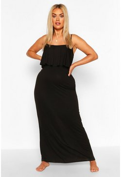 Black Plus Double Layer Strappy Maxi Dress