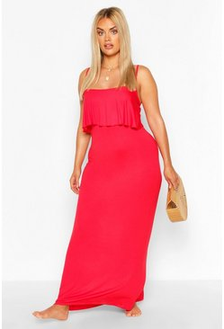 Red Plus Double Layer Strappy Maxi Dress