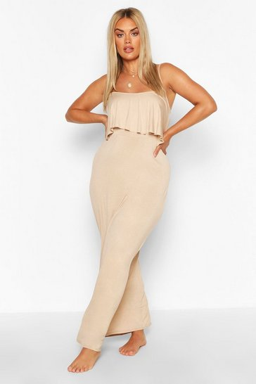 Sand beige Plus Double Layer Strappy Maxi Dress