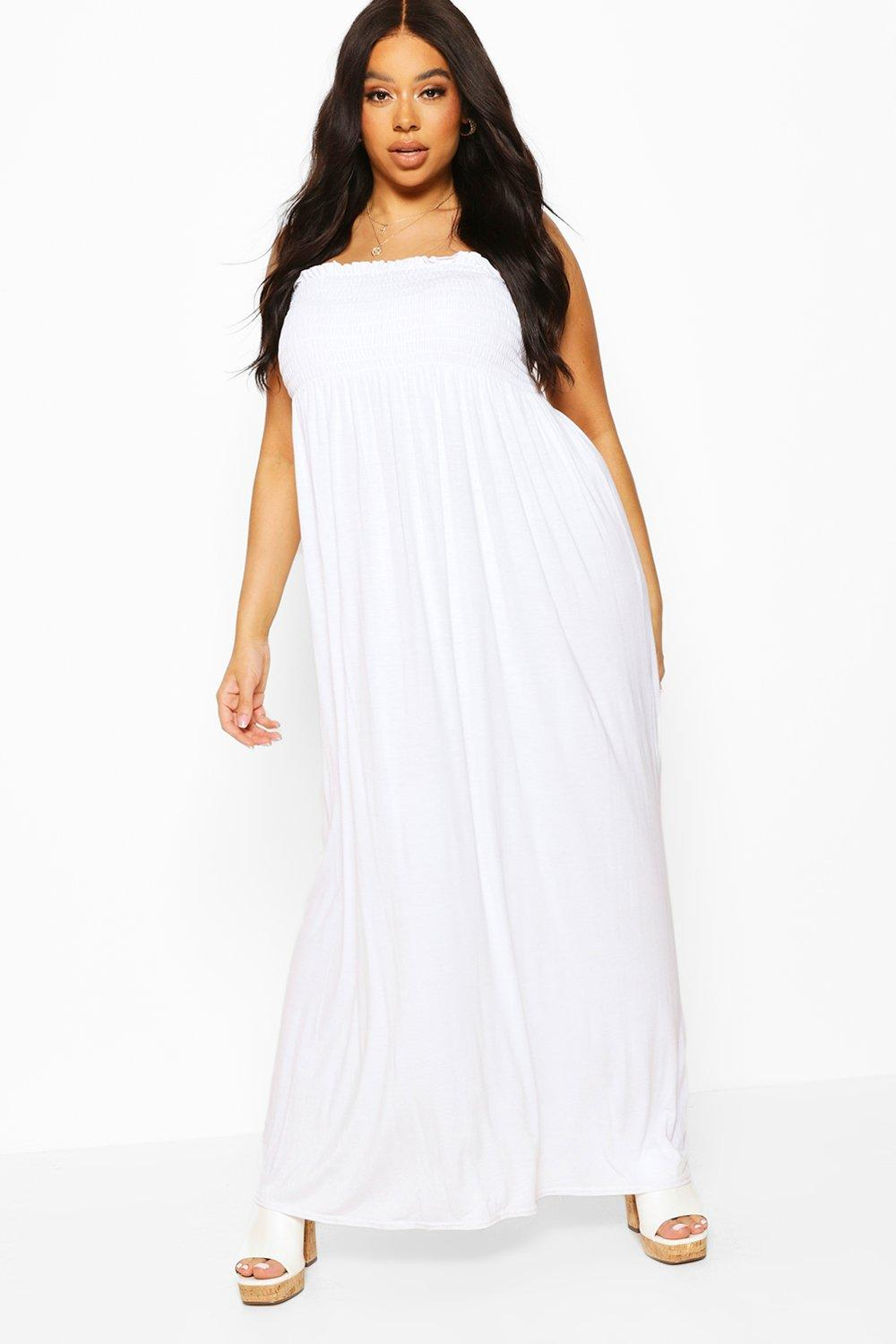 Plus Shirred Bandeau Jersey Maxi Dress 6