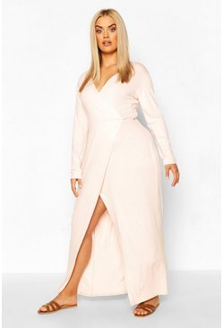 Blush pink Plus Long Sleeve Wrap Maxi Dress