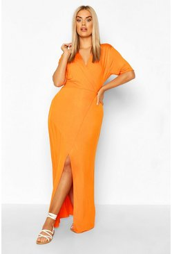 Orange Plus Wrap Front Jersey Maxi Dress