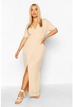 Stone beige Plus Wrap Front Jersey Maxi Dress