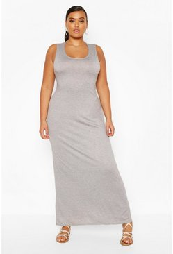 Grey Plus Basic Scoop Neck Maxi Dress
