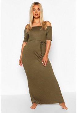 Khaki Plus Cold Shoulder Tie Belt Maxi Dress