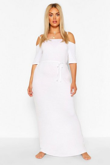 White Plus Cold Shoulder Tie Belt Maxi Dress