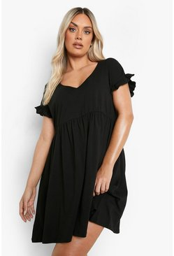 Black Plus Ruffle V Neck Smock Dress