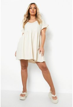 Plus Ruffle V Neck Smock Dress, Stone beige