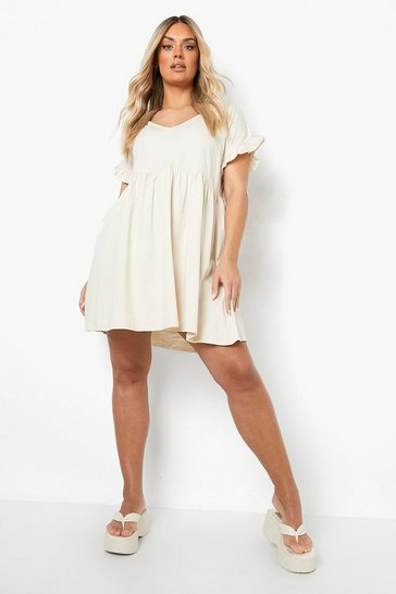 Stone Plus Ruffle V Neck Smock Dress