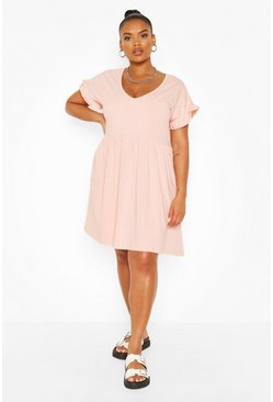 Plus Ruffle V Neck Smock Dress, Blush rosa