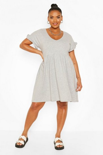 Grey marl grey Plus Ruffle V Neck Smock Dress