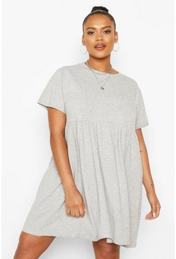 Grey marl grey Plus Basic Smock Dress