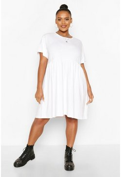 White Plus Basic Smock Dress