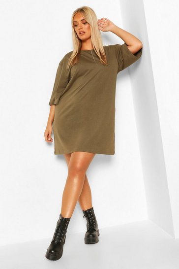 Khaki Plus Drop Armhole T-shirt Dress