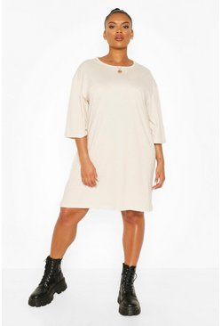 Stone beige Plus Drop Armhole T-shirt Dress