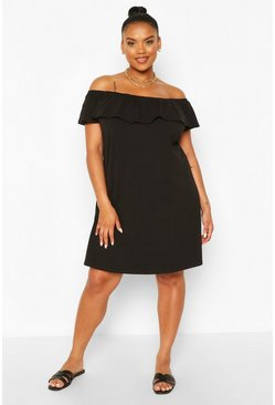 Black Plus Off The Shoulder Ruffle Shift Dress