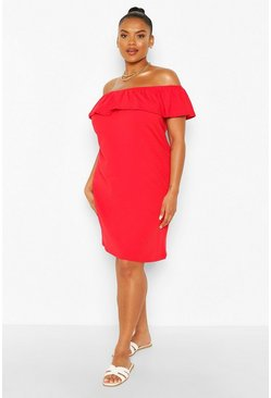 Plus Off The Shoulder Ruffle Shift Dress, Red