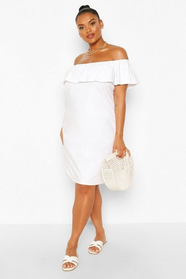 White Plus Off The Shoulder Ruffle Shift Dress