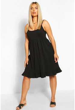 Black Plus Strappy Ruffle Sundress